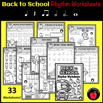 Rhythm Worksheets: Back to School Music Activities: Fall Music Worksheets