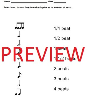 Rhythm Worksheets - Notes and Rests - Elementary Music Matching Assessment