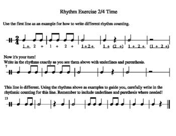 Rhythm Writing Exercise 2/4 Time
