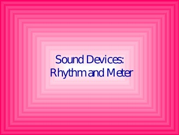 Rhythm and Meter in Poetry (Scansion) Power Point