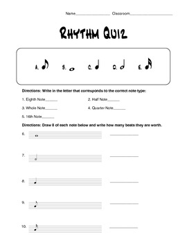 Rhythm and Note Value Quiz