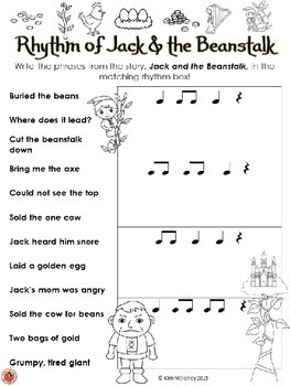Music Activities: Music Rhythm Worksheets - Fun with Fairy Tales