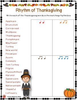 Thanksgiving Music Activity: Rhythm of Thanksgiving Music Lesson