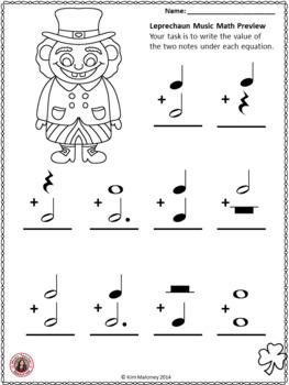 St Patrick's Day Music Activity: Leprechaun Music Math: Free Music Download