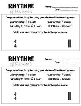Rhythm of the Week - Student Composition
