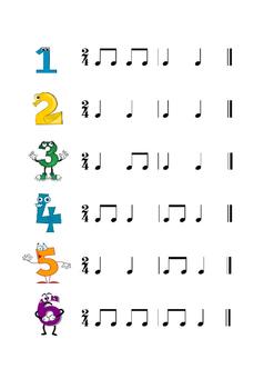 Rhythm poster. 3 pages, 18 different rhythms.
