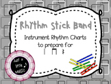 Rhythm stick band--instrument reading practice charts preparing for ta titi rest