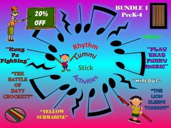 Rhythm/Lummi Stick Activities: Bundle 1: PreK-4: Any Day Songs