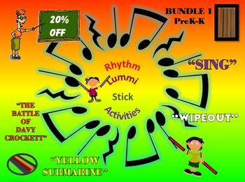 Rhythm/Lummi Stick Activities: Bundle 1: PreK-K: Any Day Songs