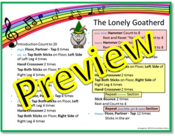 """Rhythm/Lummi Stick Activity: """"The Lonely Goatherd"""" G1-3 from The Sound of Music"""