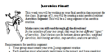Rhythmic Dance Project/Presentation for Aerobics Class