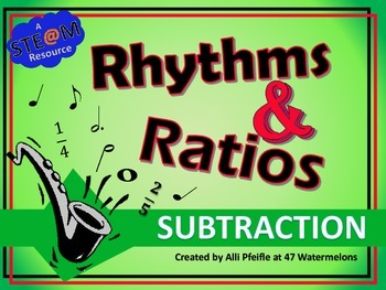 Rhythms and Ratios Subtraction: STEAM Flashcards for Fractions