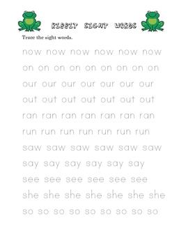 Ribbit! Sight Word Game Kindergarten Set #2