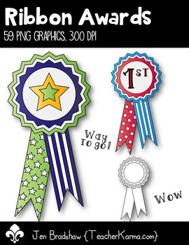 Ribbon Awards Clip Art ~ Commercial Use OK ~ Stars ~ PE
