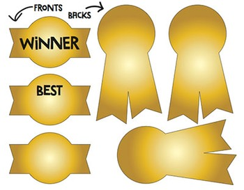 image relating to Printable Ribbon called Ribbon Awards Printable - Shade/BW, 1st, 2nd, 3rd, Champion, Gold, Silver, Bronze