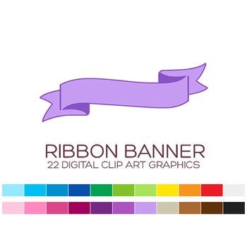 Ribbon Banner Clipart - 22 digital ribbons / 4x1.5 inches - A00125