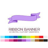 Ribbon Banner Clipart - 22 digital ribbons / 4x1.5 inches