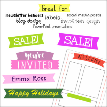 Ribbon Banner Clipart - 25 Colors x 4 Styles =100 Elements!