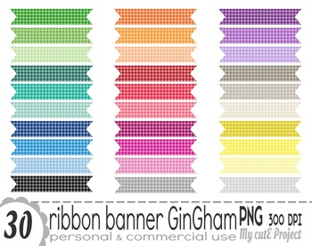Ribbon Banner Gingham | Clipart | 30 png files | Scrapbooking Clip art | CA14
