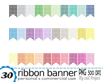 Ribbon Banner Gingham | Clipart | 30 png files | Scrapbooking Clip art | CA25