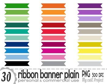 Ribbon Banner Plain | Clipart | 30 png files | Scrapbooking Clip art | CA15