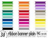Ribbon Banner Plain   Clipart   30 png files   Scrapbookin