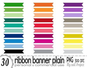 Ribbon Banner Plain | Clipart | 30 png files | Scrapbookin