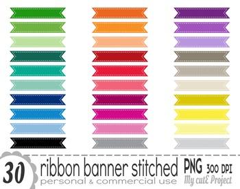 Ribbon Banner Stitched | Clipart | 30 png files | Scrapbooking Clip art | CA17