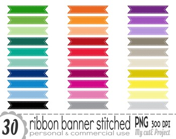 Ribbon Banner Stitched   Clipart   30 png files   Scrapboo
