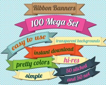 SALE- Ribbon Banners Clipart Set, Many Colors