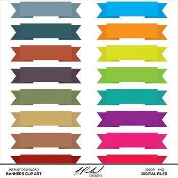 Ribbon Banners Digital Clip Art - digital ribbon banner clipart