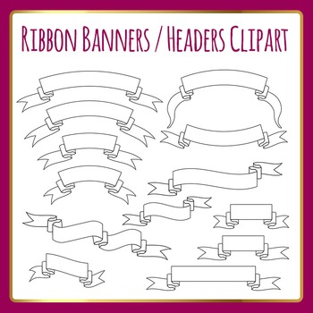 Ribbon Banners or Ribbon Headers Clip Art Pack for Commercial Use