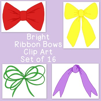Ribbon Bows Brights Clip Art Bundle PNG JPG Blackline Commercial Personal