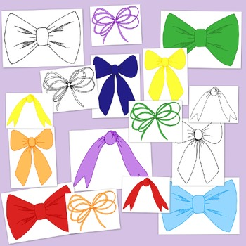 Ribbon Bows Brights Clip Art PNG JPG Blackline Commercial Personal