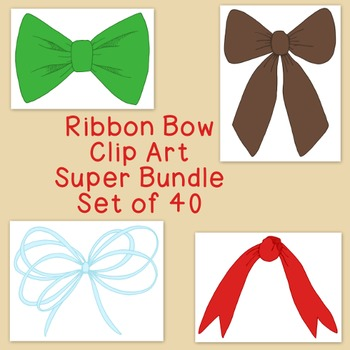 Ribbon Bows Clip Art Super Bundle PNG JPG Blackline Commer