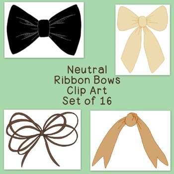 Ribbon Bows Neutral Clip Art Bundle PNG JPG Blackline Commercial Personal