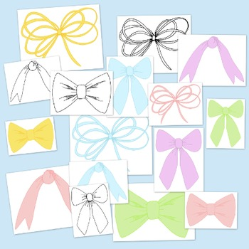 Ribbon Bows Pastel Clip Art Bundle PNG JPG Blackline Commercial Personal