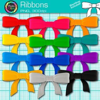 Rainbow Ribbon Clip Art {Christmas, Birthday, & Holiday Gr