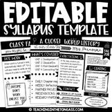 Syllabus Template Editable