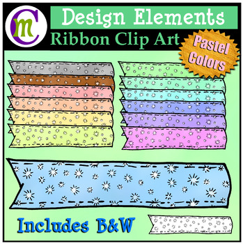 Ribbon Clipart Patterned Pastel