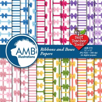 Ribbon Digital Paper, Bows Paper, Birthday and Bridal Shower papers, AMB-970