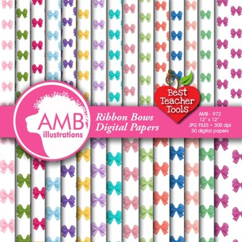 Ribbon Digital Paper, Bows paper, Birthday and Bridal Shower papers, AMB-972