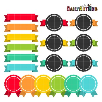 Ribbon Labels Clip Art - Great for Art Class Projects!