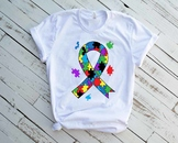 Ribbon Puzzle Autism Awareness SVG Awareness Color kind love fight hope 1342S