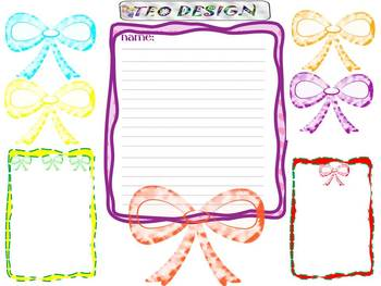 Ribbons - Frames - Writing paper - Clip Art