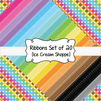 Ribbons Clip Art Set of 20 {Ice Cream Shoppe}