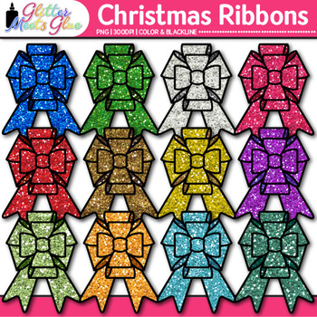 Christmas Ribbon Clip Art {Rainbow Glitter Bow Graphics fo