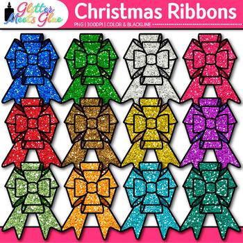 Christmas Ribbon Clip Art {Rainbow Glitter Bow Graphics for Birthday Use} 1