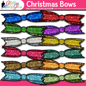 Christmas Ribbon Clip Art {Rainbow Glitter Bow Graphics for Birthday Use} 2