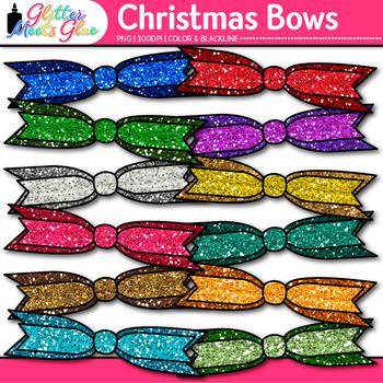 Christmas Ribbon Clip Art | Rainbow Glitter Bow Graphics for Birthday Use 2
